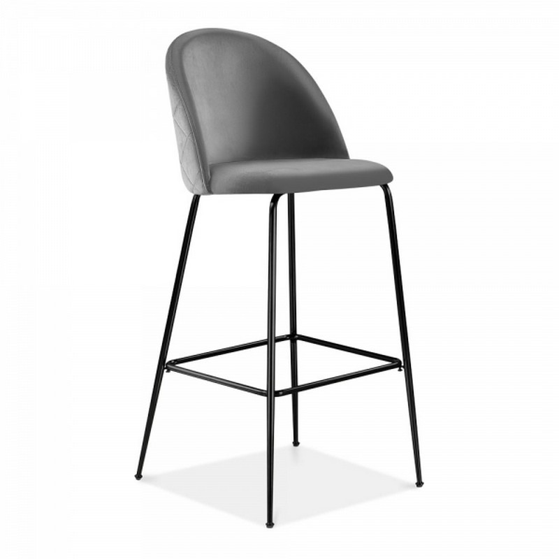 Aether Fixed Height Velvet Bar Stool - Charcoal Grey/Black