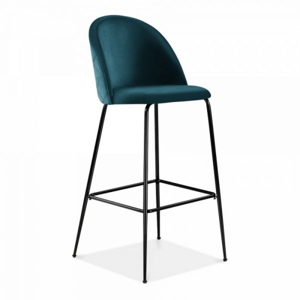 Aether Fixed Height Velvet Bar Stool - Teal