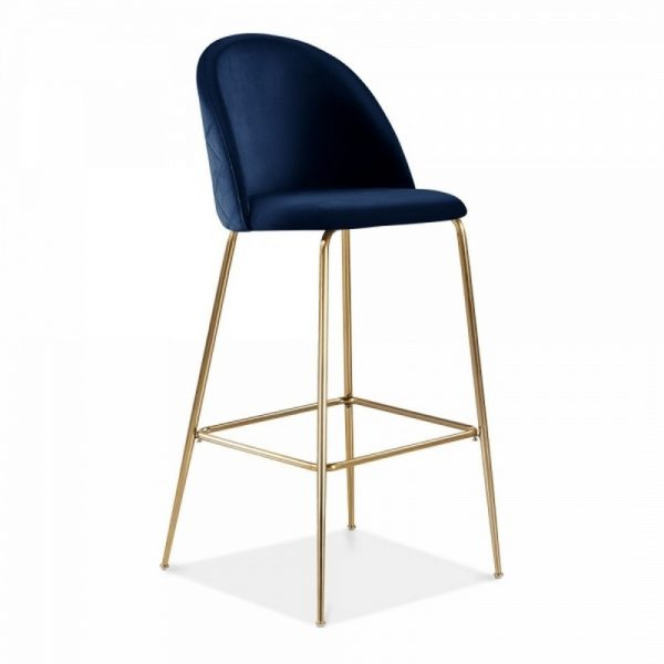 Aether Fixed Height Velvet Bar Stool - Royal Blue/Brass