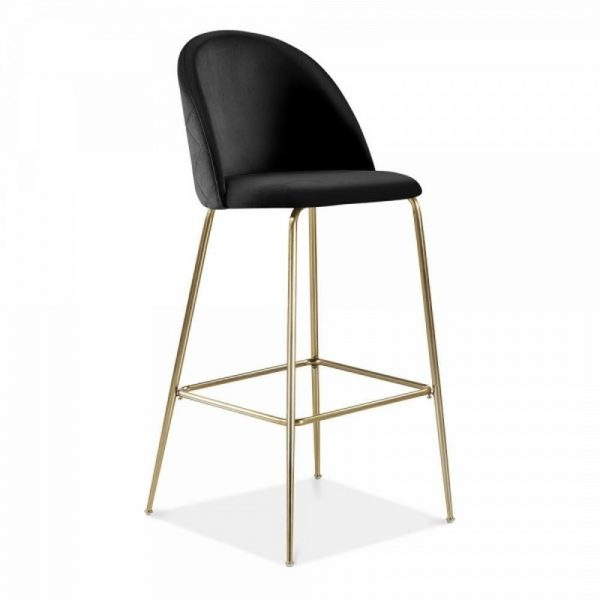 Aether Fixed Height Velvet Bar Stool - Onyx Black/Brass