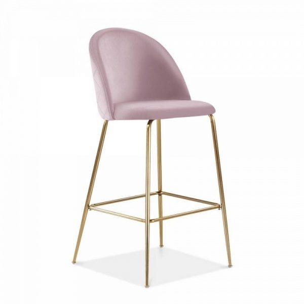 Aether Fixed Height Velvet Bar Stool - Blossom Pink/Brass