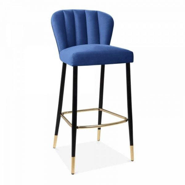 Vegas Upholstered Velvet Wooden Bar Stool - Blue