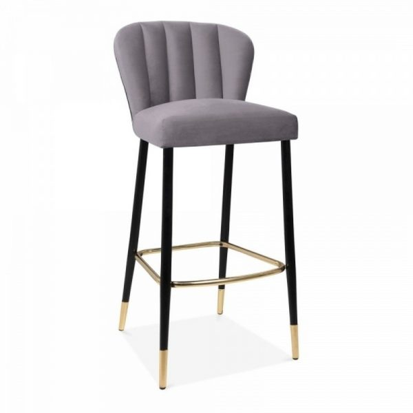 Vegas Upholstered Velvet Wooden Bar Stool - Grey
