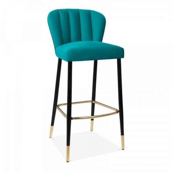 Vegas Upholstered Velvet Wooden Bar Stool - Teal
