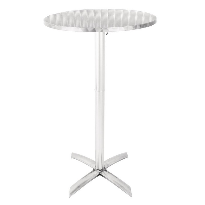 Sparrow Flip Top Round Poseur Table - Stainless Steel