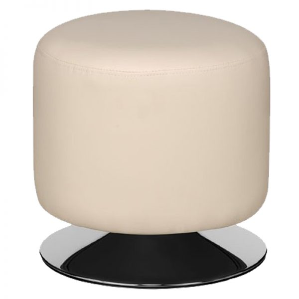 Cyclone Faux Leather Chrome Bar Stool - Cream