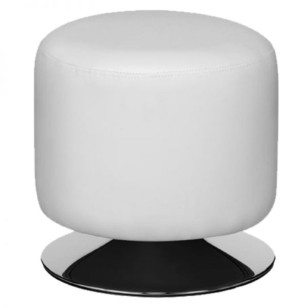 Cyclone Faux Leather Chrome Bar Stool - White
