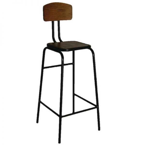 2 x Yalerio Industrial Fixed Height Kitchen Bar Stool