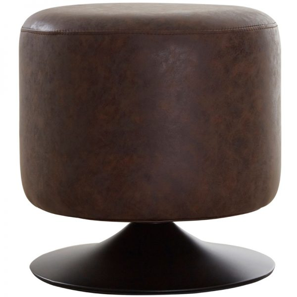 Cyclone Cylinder Faux Leather Bar Stool - Brown