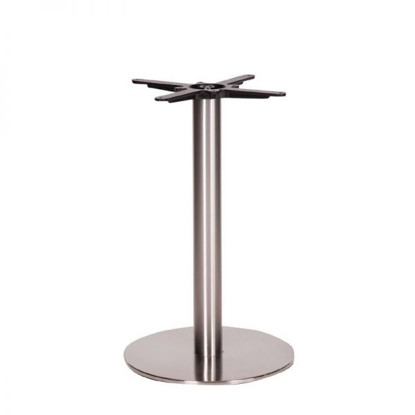 Daniella Round Brushed Steel Tall Bar Fixed Floor Commercial Table Base - 73cm