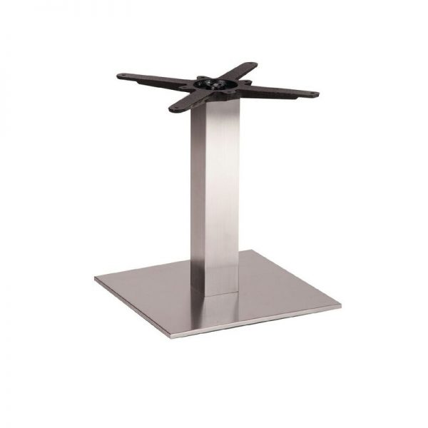 Daniella Square Brushed Steel Tall Bar Fixed Floor Commercial Table Base - 48cm x 40cm x 60cm