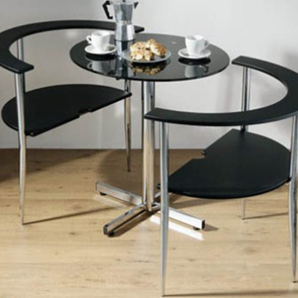 Love Glass Round Dining Kitchen Table and 2 Space Saver Chairs