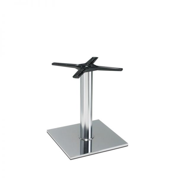 Lucci Cruciform Chrome Square Tall Bar Fixed Floor Commercial Table Base - Chrome - 40cm