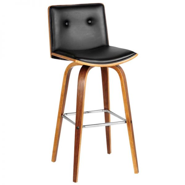 2 x Prema Wooden Kitchen Bar Stool - Black