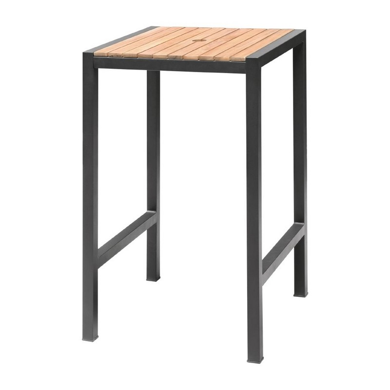 Sparrow Square Steel Bar Table - Acacia Wood