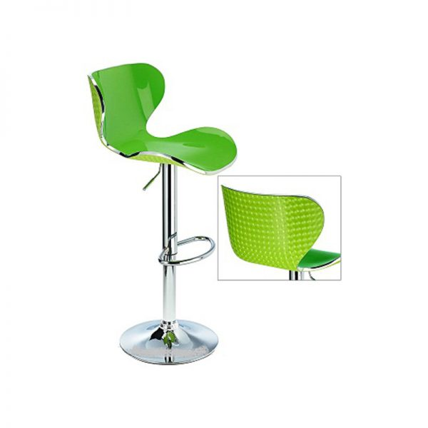 Vercelli Transparent Acrylic Adjustable Kitchen Bar Stool - Green