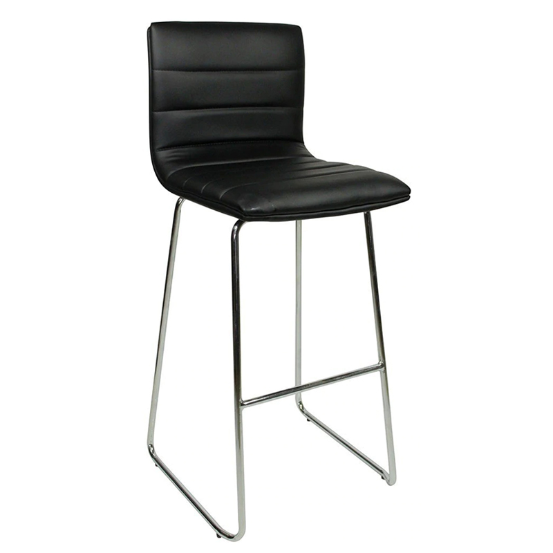 Pair of Majorca Curved Chrome Bar Stool - Black