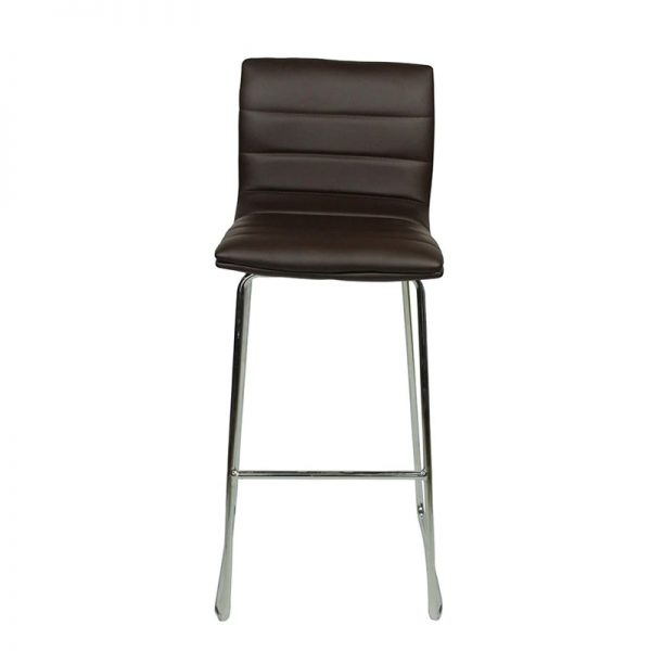 Pair of Majorca Curved Chrome Bar Stool - Brown