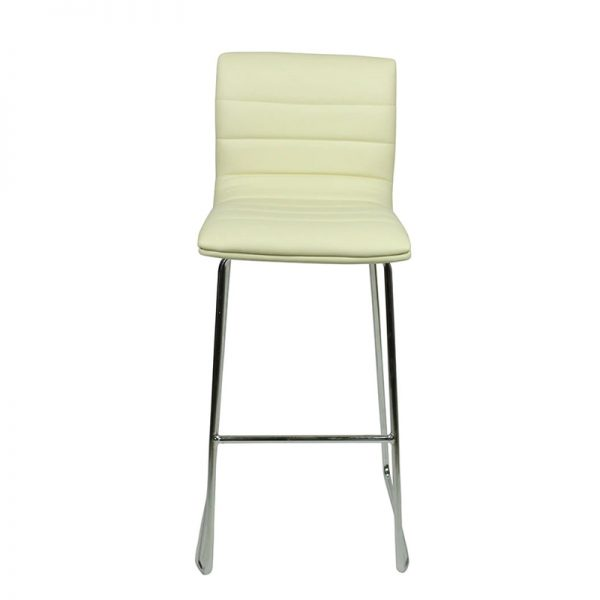 Pair of Majorca Curved Chrome Bar Stool - Cream