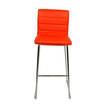 Pair of Majorca Curved Chrome Bar Stool - Red