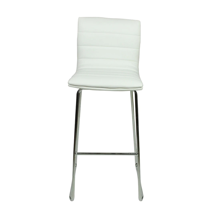 Pair of Majorca Curved Chrome Bar Stool - White