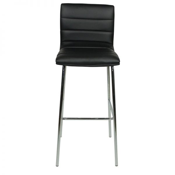 Pair of Majorca Straight Chrome Bar Stool - Black