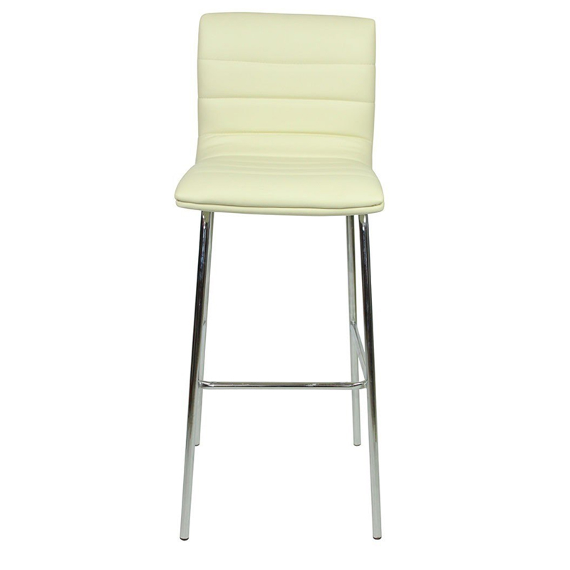 Pair of Majorca Straight Chrome Bar Stool - Cream