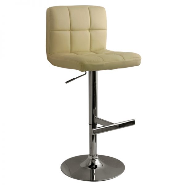 Azagi Chrome Real Leather Kitchen Bar Stool - Cream