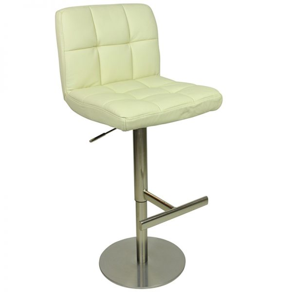 Azagi Weighted Real Leather Kitchen Bar Stool - Cream