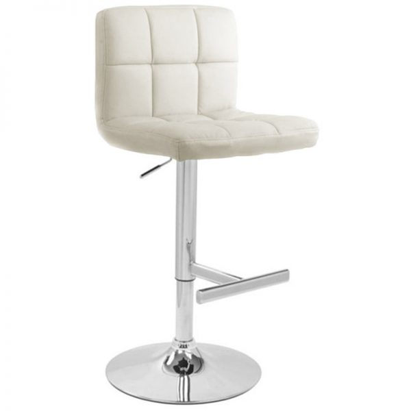 Azagi Chrome Real Leather Kitchen Bar Stool - White