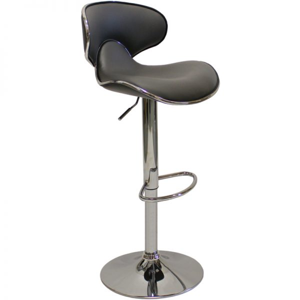 Caribbean Chrome Adjustable Bar Stool - Charcoal