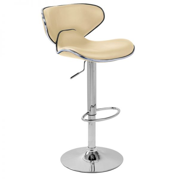 Caribbean Chrome Adjustable Bar Stool - Cream