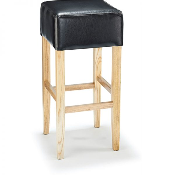 Rhone Backless Real Leather Breakfast Bar Stool - Black and Oak