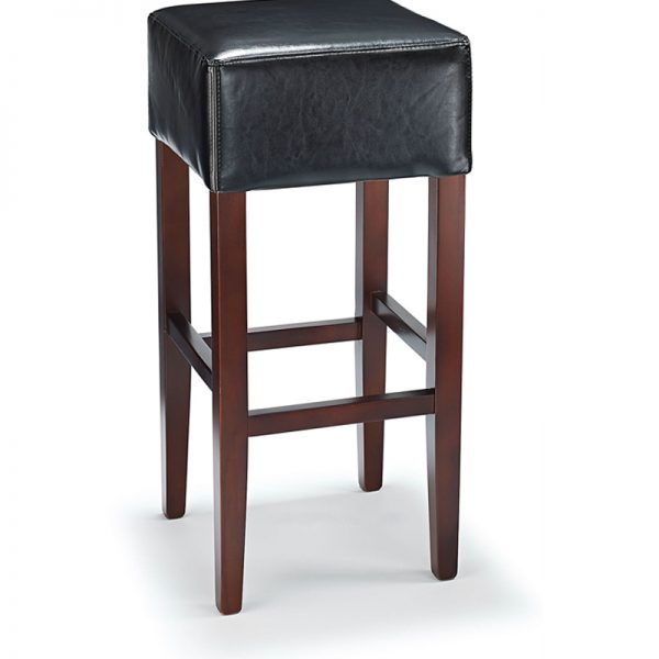 Rhone Backless Real Leather Breakfast Bar Stool - Black and Walnut