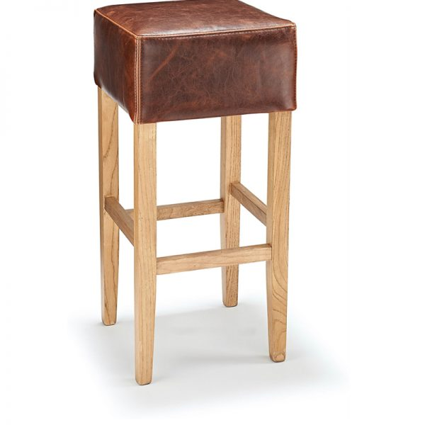 Rhone Backless Real Leather Breakfast Bar Stool - Brown and Rustic Oak