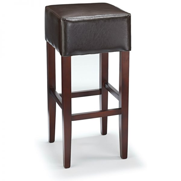 Rhone Backless Real Leather Breakfast Bar Stool - Brown and Walnut