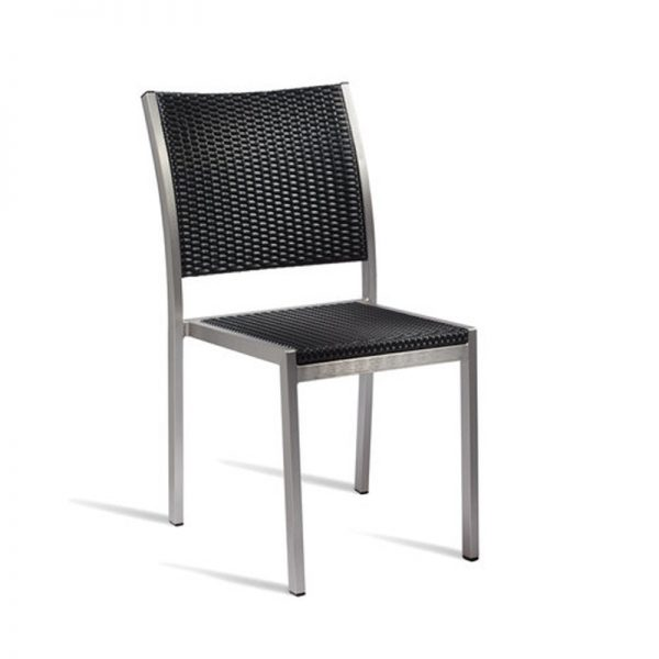 Sunny PE Wicker Side Chair Kitchen Bar Stool - Black