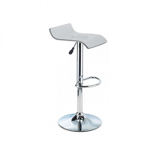 CT3 Transluscent Perspex Adjustable Kitchen Bar Stool - Smoked