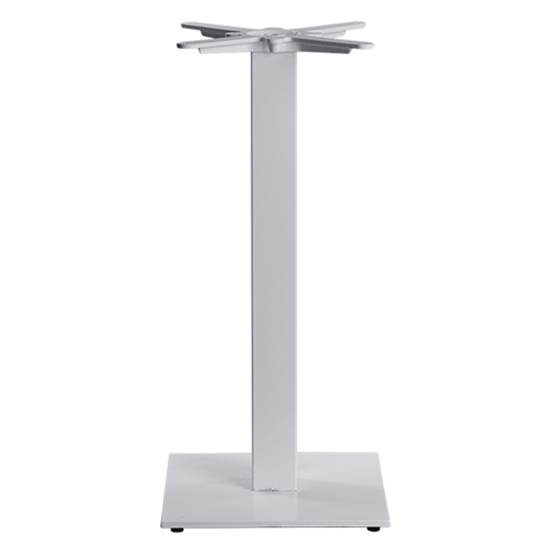 Gorzan Poseur Square Cast Iron Tall Bar Fixed Floor Commercial Table Base - White