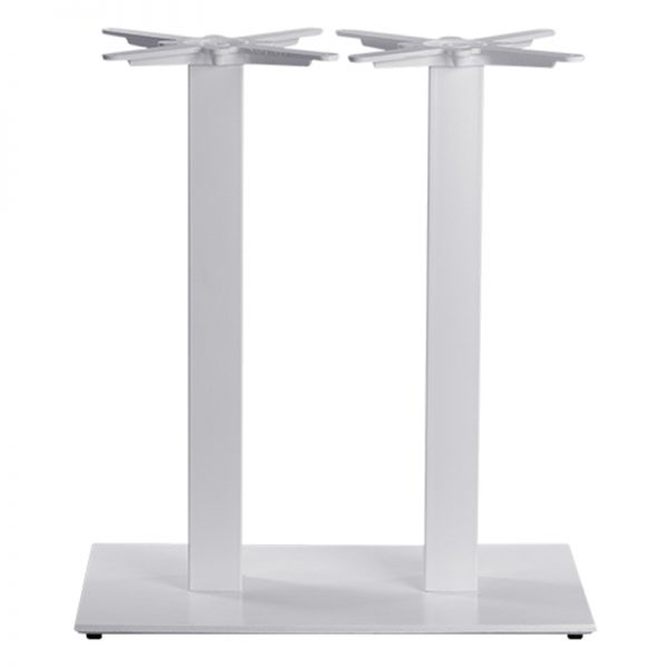 Gorzan Twin Pedestal Square Cast Iron Tall Bar Fixed Floor Commercial Table Base - White