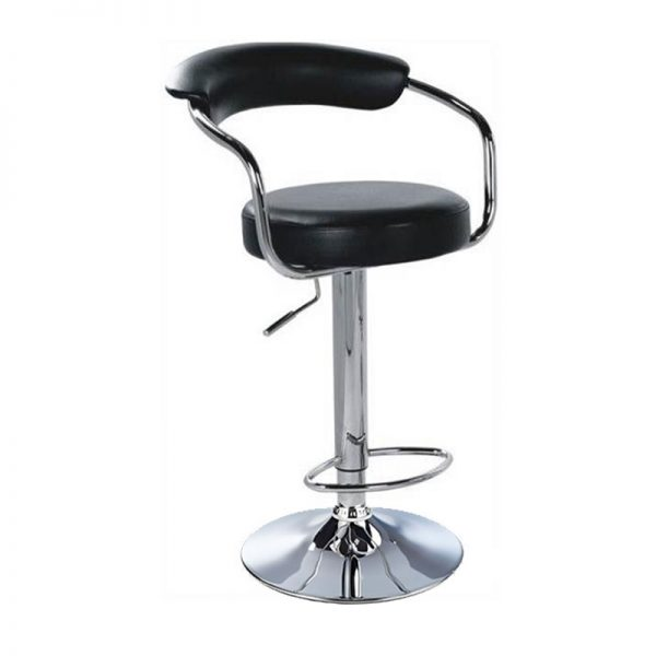 Lazio Adjustable Padded Kitchen Bar Stool - Black