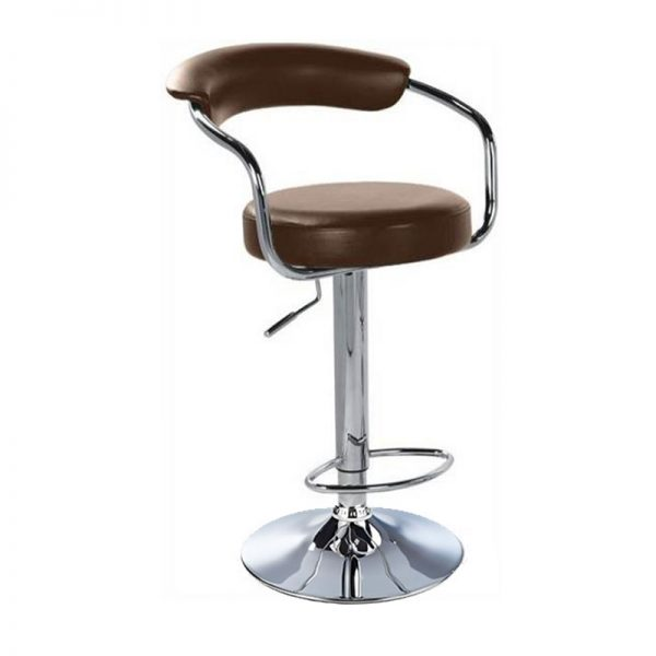 Lazio Adjustable Padded Kitchen Bar Stool - Brown