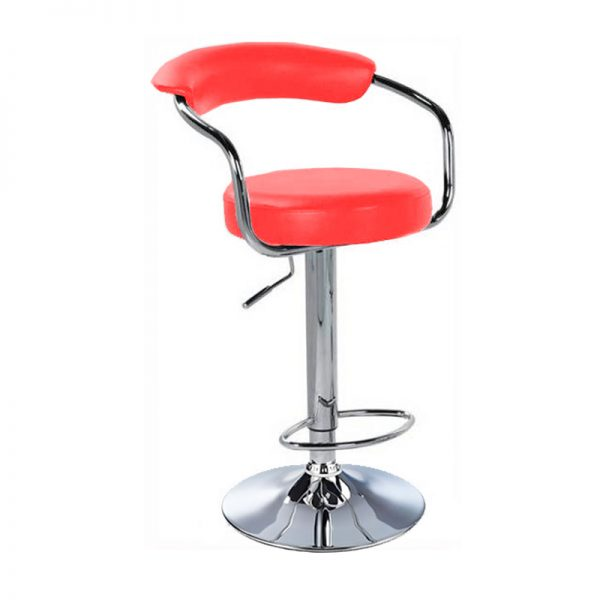 Lazio Adjustable Padded Kitchen Bar Stool - Red