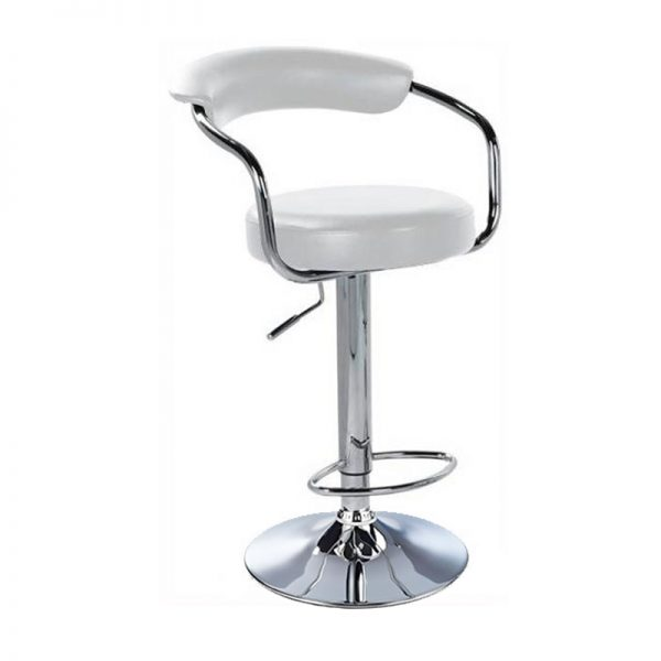 Lazio Adjustable Padded Kitchen Bar Stool - White