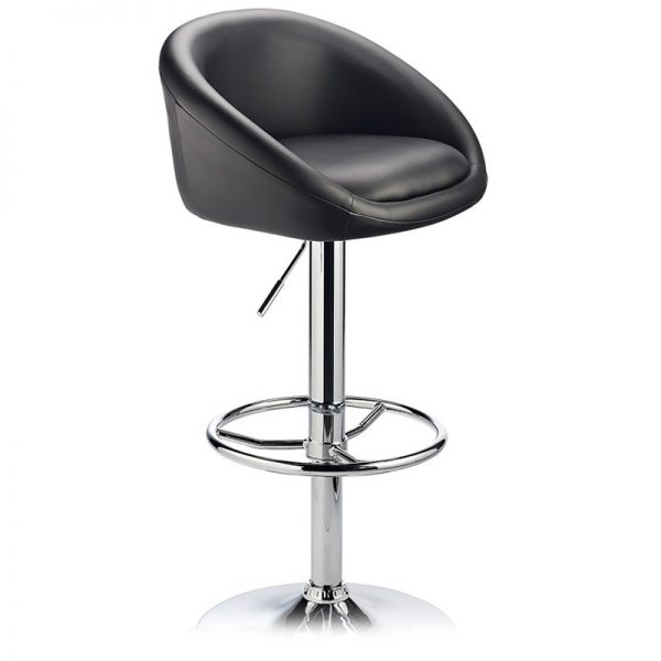 Lombardy Adjustable Kitchen Bar Stool Chrome - Black