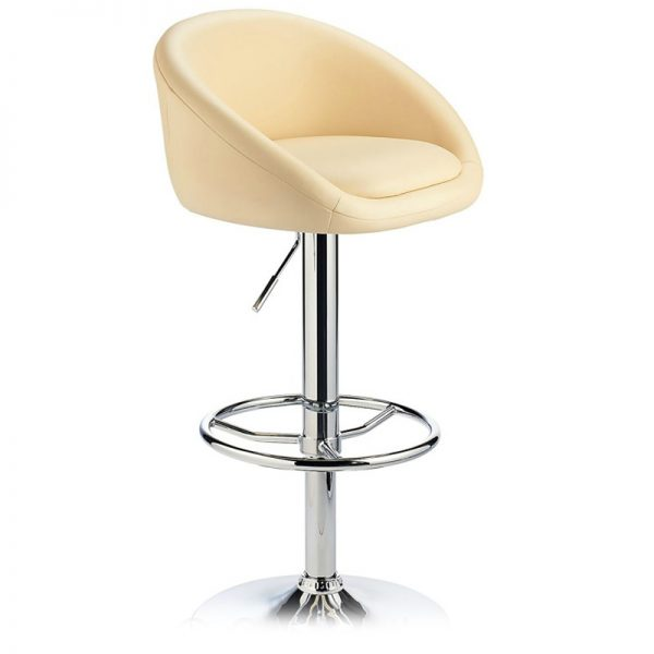 Lombardy Adjustable Kitchen Bar Stool Chrome - Cream