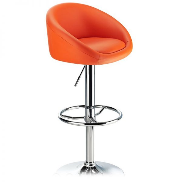 Lombardy Adjustable Kitchen Bar Stool Chrome - Orange
