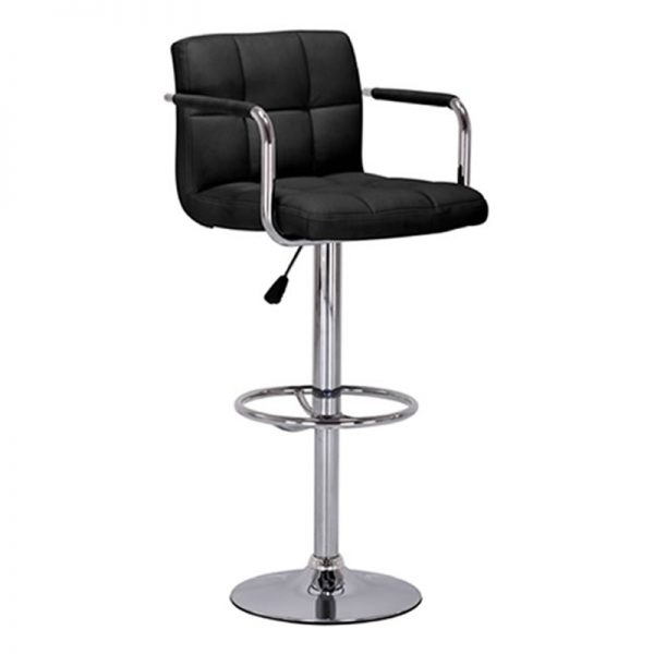 Messino Adjustable Padded Kitchen Bar Stool - Black