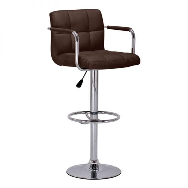 Messino Adjustable Padded Kitchen Bar Stool - Brown