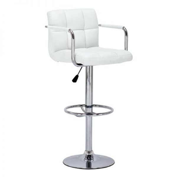 Messino Adjustable Padded Kitchen Bar Stool - White
